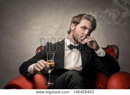 Elegant man smoking a cigar and drinking wine
