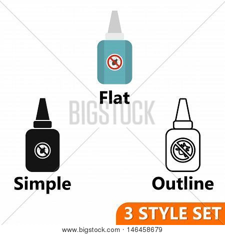 Insect spray icons set in flat, simple and outline style isolated on white background. Protection symbol vector illustration