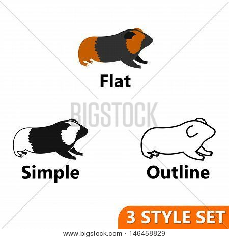 Hamster icons set in flat, simple and outline style isolated on white background. Animals symbol vector illustration