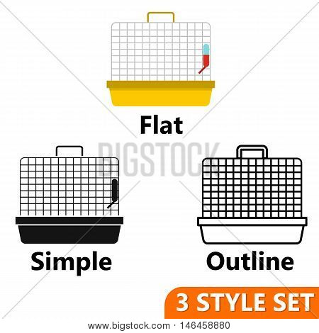 Cage for birds icons set in flat, simple and outline style isolated on white background. Transportation of animals symbol vector illustration