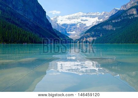 Majestic alpine lake and glacier. Lake Louise. Banff National Park. Rocky Mountains. Alberta. Canada.