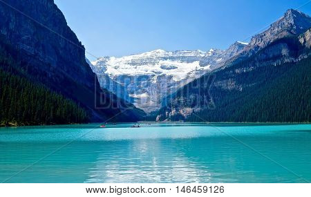 Azure lake and glacier. Lake Louise. Banff National Park. Rocky Mountains. Alberta. Canada.