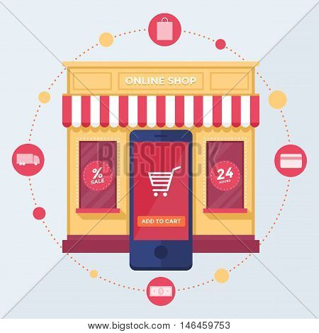 Online shop. Set of design vector illustration concepts of online shopping, mobile marketing and digital marketing.