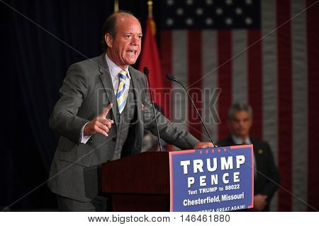 Chesterfield, MO, USA - September 06, 2016: Jamie Allman, Saint Louis conservative radio and TV personality speaks at Indiana Governor Mike Pence rally in Chesterfield, Missouri.