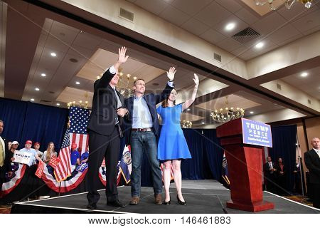 Chesterfield, MO, USA - September 06, 2016: Republican vice presidential candidate, Mike Pence, MO candidate for Governor Eric Greitens and wife Sheena greet supporters in Chesterfield, Missouri.