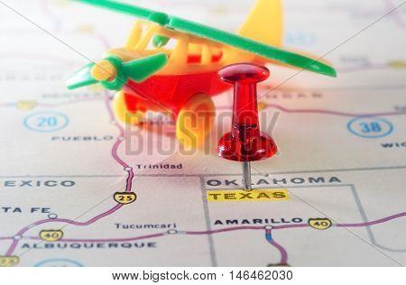 Texas Usa Map Airplane