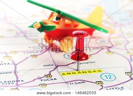 Arkansas  Usa Map Airplane
