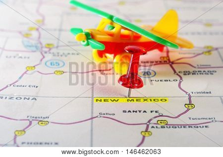 New Mexico  Usa Map Airplane