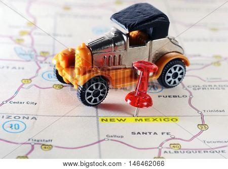 New Mexico  Usa Map Retro Car