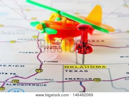 Oklahoma Usa Map Airplane