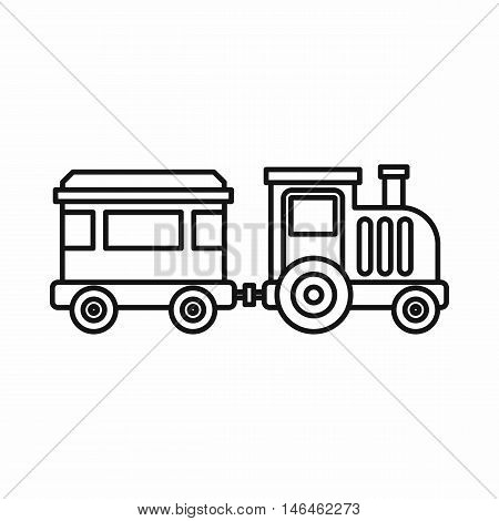 Children train for walks in the amusement park icon in outline style on a white background vector illustration