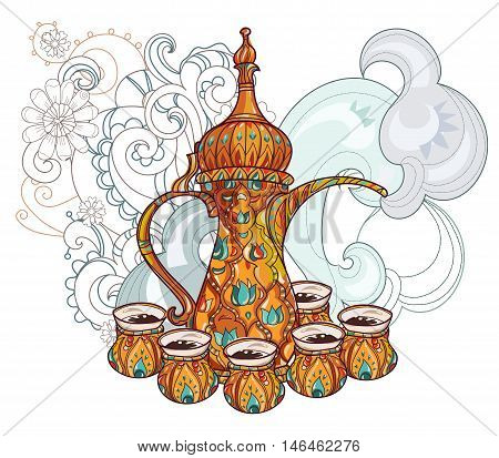 Arabic coffee maker dalla with cups. Greeting card or invitation, hand drawn sketch.Zen art hand drawn.