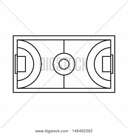 Futsal or indoor soccer field icon in outline style on a white background vector illustration