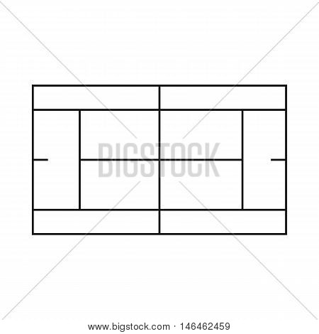 Tennis court icon in outline style on a white background vector illustration