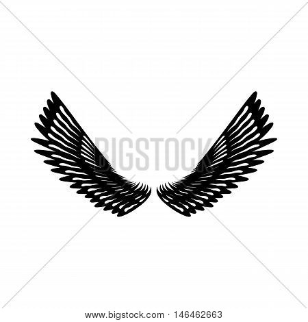 Pair of eagle wings icon in simple style on a white background vector illustration