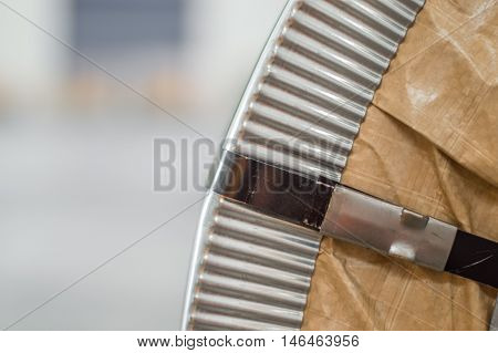 Close Up of a Packed Steel Coil