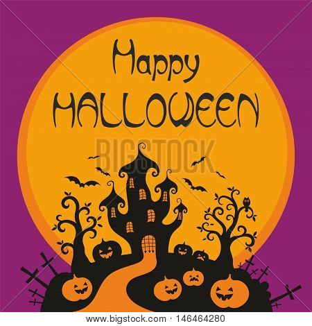 Halloween greeting card with the image of a fairytale castle and old trees