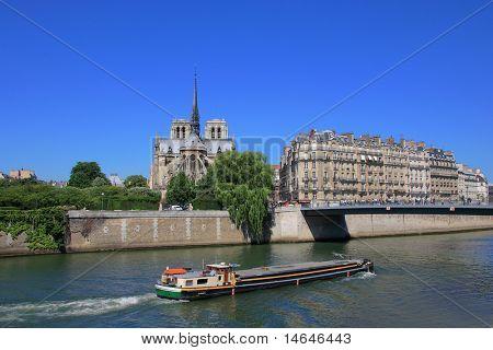 Notre Dame de Paris cathedral on the river seine in ile de la cite Paris France
