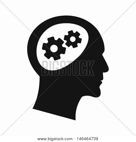 Gear in head icon in simple style on a white background vector illustration