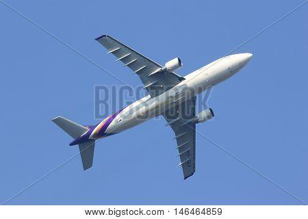 CHIANGMAI THAILAND - FEBRUARY 26 2014: HS-TAX Airbus A300-600 of Thai airway. Take off from Chiangmai airport to Bangkok Suvarnabhumi.