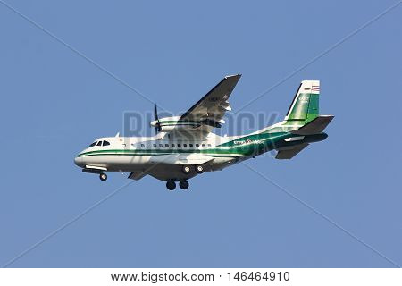 CHIANGMAI THAILAND - FEBRUARY 26 2014: 2221 CASA CN-235 of KASET Bureau of Royal Rainmaking and Agricultural Aviation. Landing to Chiangmai Airport.