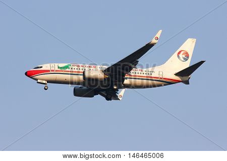 CHIANGMAI THAILAND - FEBRUARY 26 2014: B-5245 Boeing 737-700 of China Eastern Airline Landing to Chiangmai Airport from Kunming.