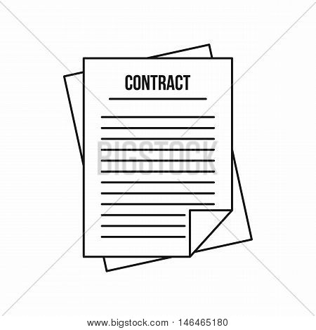Contract icon in outline style on a white background vector illustration