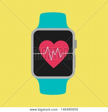 Smart Watch Shown Heartbeat On Screen With Yellow Background.