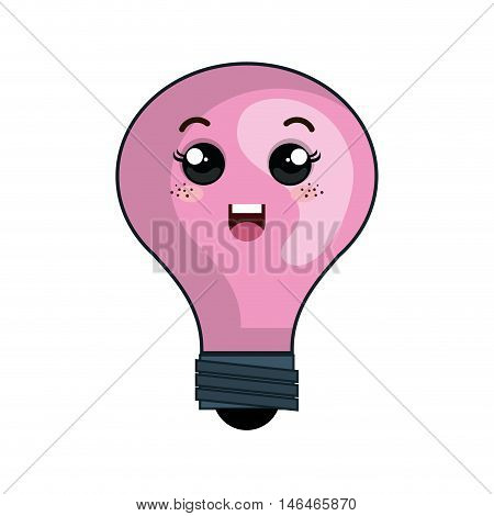 kawaii pink cartoon cute light bulb with happy face. vector illustration