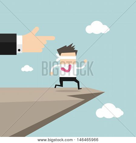 Leap of faith concept. Blindfolded businessman walks off a cliff.