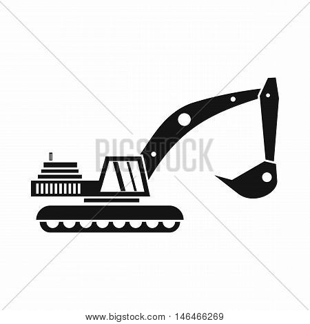 Excavator icon in simple style on a white background vector illustration