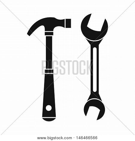 Hammer and wrench icon in simple style on a white background vector illustration