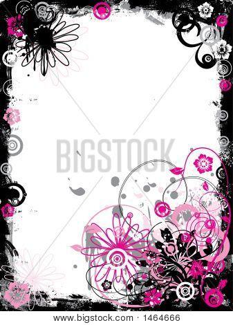 Grunge Floral Border