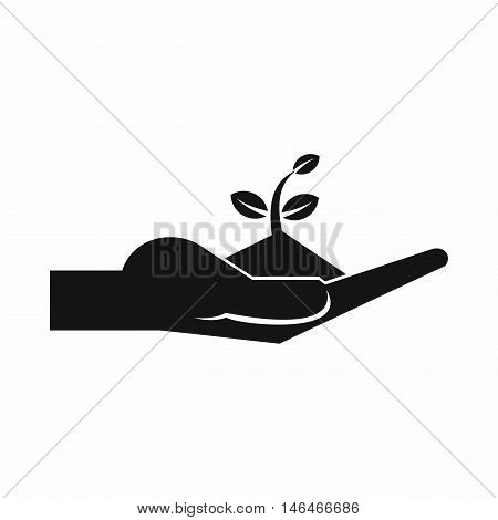 Sprout in the human hand in simple style isolated on white background vector illustration
