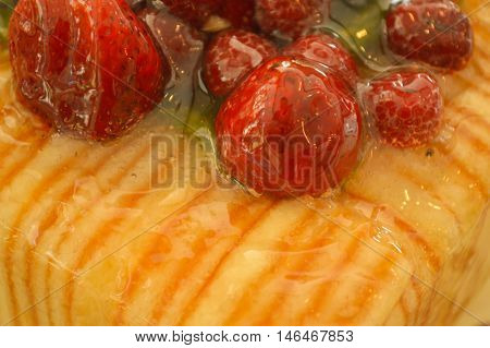 Close Up of a Jelly Strawberry Cake