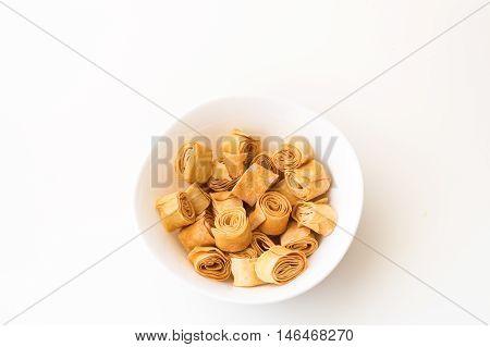 Turkish crisp pastry isolated on white background