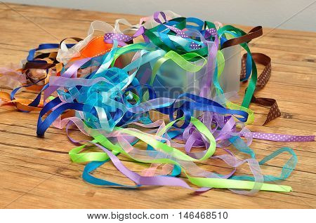 A mixture of ribbons in a box