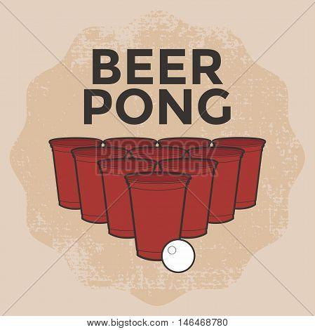 Beer Pong Drinking Game vintage color vector illustration