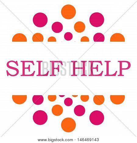 Self help text written over pink orange background.