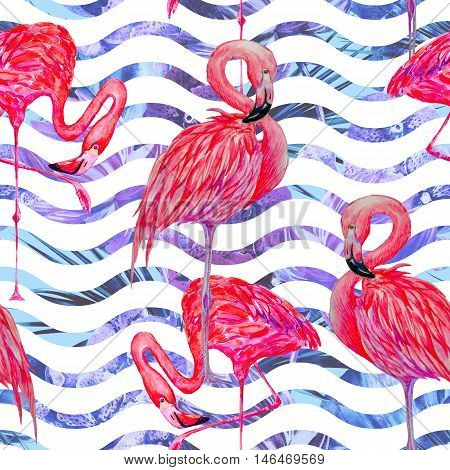 Beautiful seamless floral tropical pattern background with watercolor pink flamingos. Abstract striped geometric texture