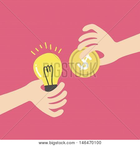 Exchange light bulb idea and money. business idea concept
