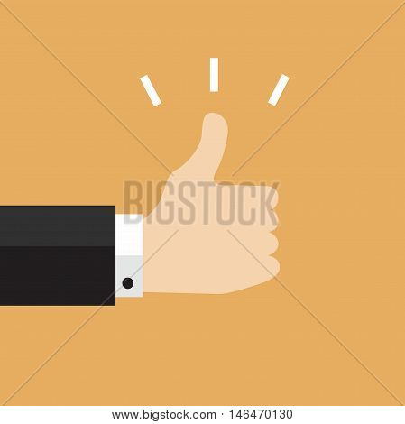 Hand with thumbs up sign in flat style