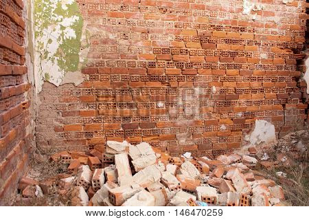 Parts of a Destroyed Old Brick Wall