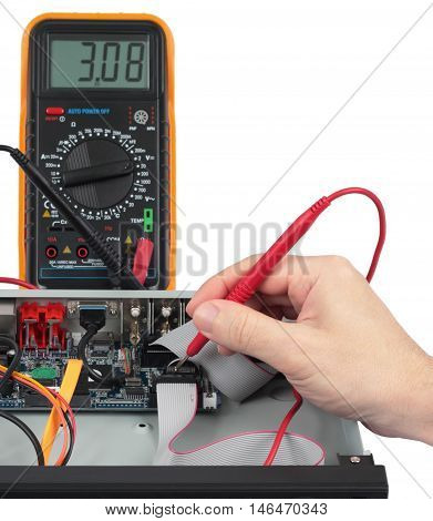 Technician checks the battery in an electronic device. Objects isolated on white background without shadows. Image with shallow DOF.