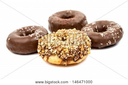 donuts doughnut, icing dessert on a white background