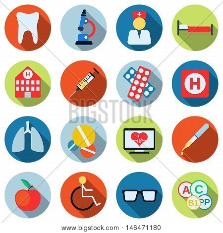 Medical flat design style colorful vector icons with long shadows