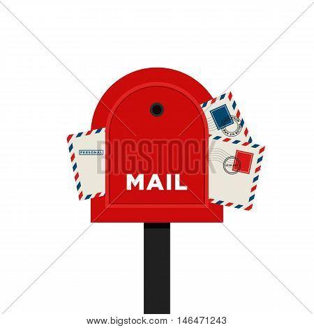 Mailbox letter flat design isolated on white background vector illustration