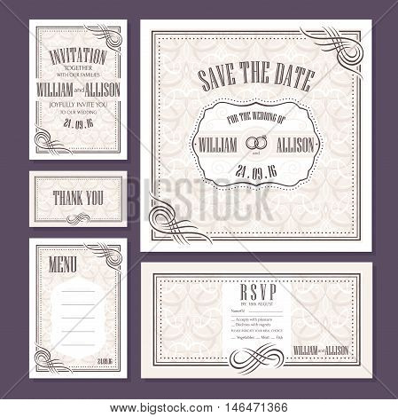 Set of wedding cards. Wedding invitation Thank you card Save the date card RSVP card and Menu.