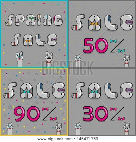 Cards with inscriptions for retail. Vintage font. Sale. Gray retro letters with colorful ties. Pink numerals. Cartoon hipster hands. Vector illustration