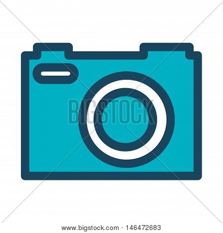 blue photographic camera. technology photography device. vector illustration